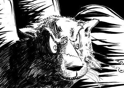 Tsa and Lion-detail